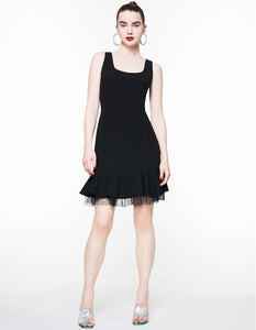 DOTTED MESH DETAILS DRESS BLACK