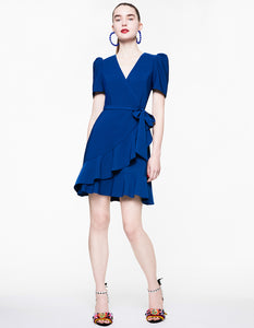 RUFFLED UP WRAP DRESS BLUE