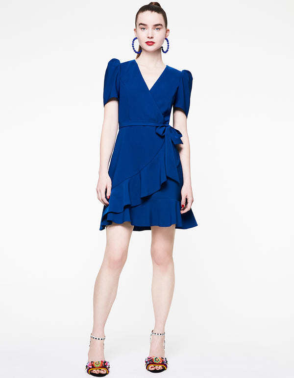 RUFFLED UP WRAP DRESS BLUE - APPAREL - Betsey Johnson