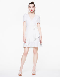 RUFFLED UP WRAP DRESS IVORY
