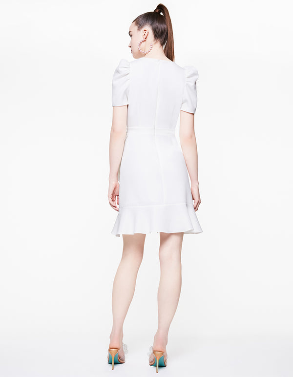 RUFFLED UP WRAP DRESS IVORY - APPAREL - Betsey Johnson