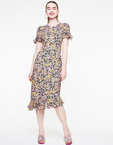 FLOUNCE AND FLORAL TIE SLEEVE DRESS MULTI