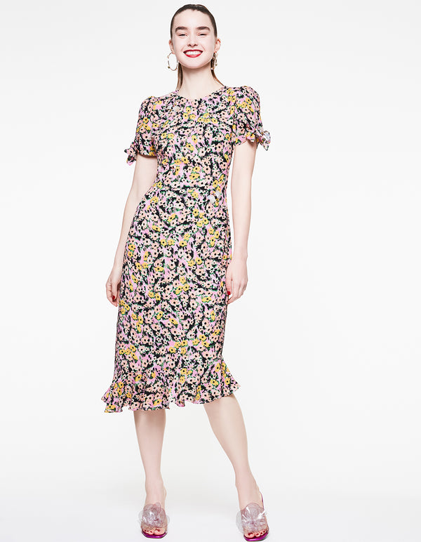FLOUNCE AND FLORAL TIE SLEEVE DRESS MULTI - APPAREL - Betsey Johnson