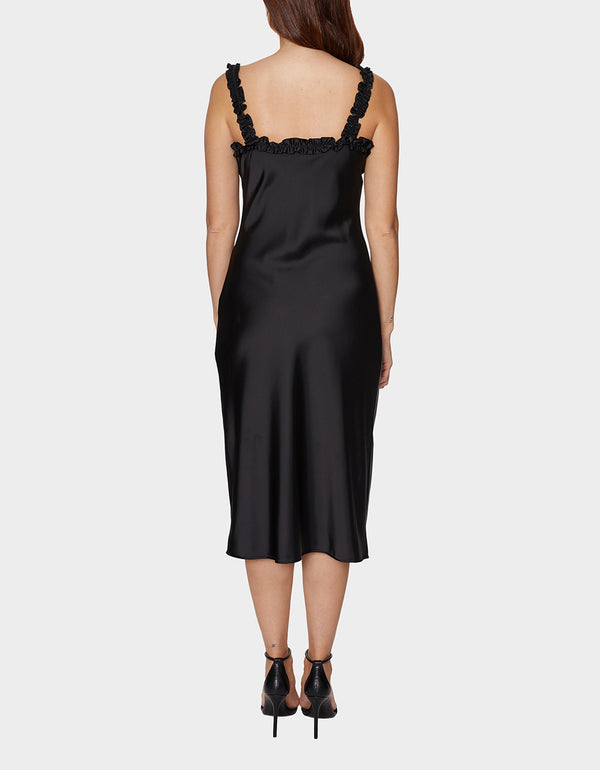 SLEEK RUFFLES SLIP DRESS BLACK - APPAREL - Betsey Johnson