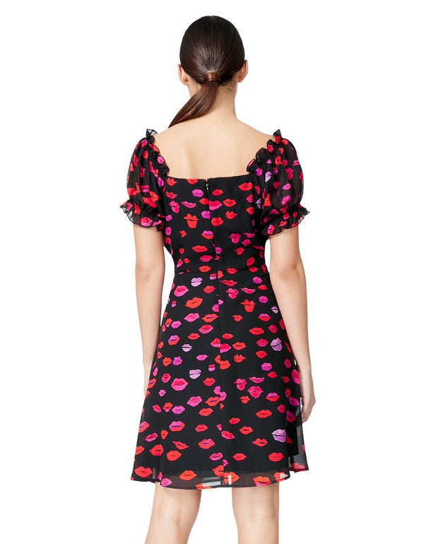 FRENCH KISSES LACE UP DRESS RED MULTI - APPAREL - Betsey Johnson