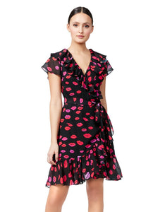 FRENCH KISSES WRAP DRESS RED MULTI