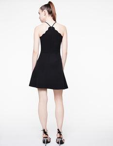 SCALLOP NECK MINI DRESS BLACK