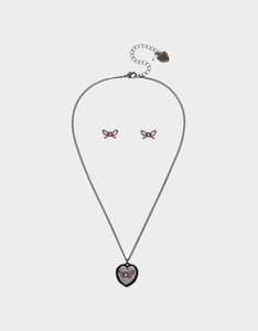GET YOUR WINGS BOW HEART SET BLACK-PINK