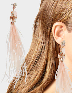GET YOUR WINGS FEATHER EARRINGS BLUSH
