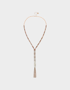 GET YOUR WINGS FRINGE Y-NECKLACE BLUSH