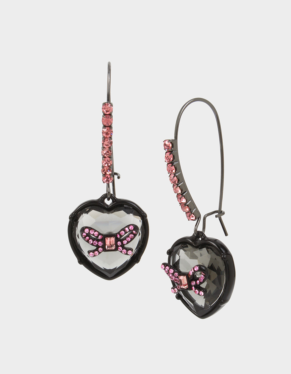GET YOUR WINGS HEART HOOK EARRINGS BLACK-PINK - JEWELRY - Betsey Johnson