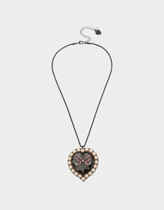 GET YOUR WINGS HEART LONG PENDANT BLACK-PINK