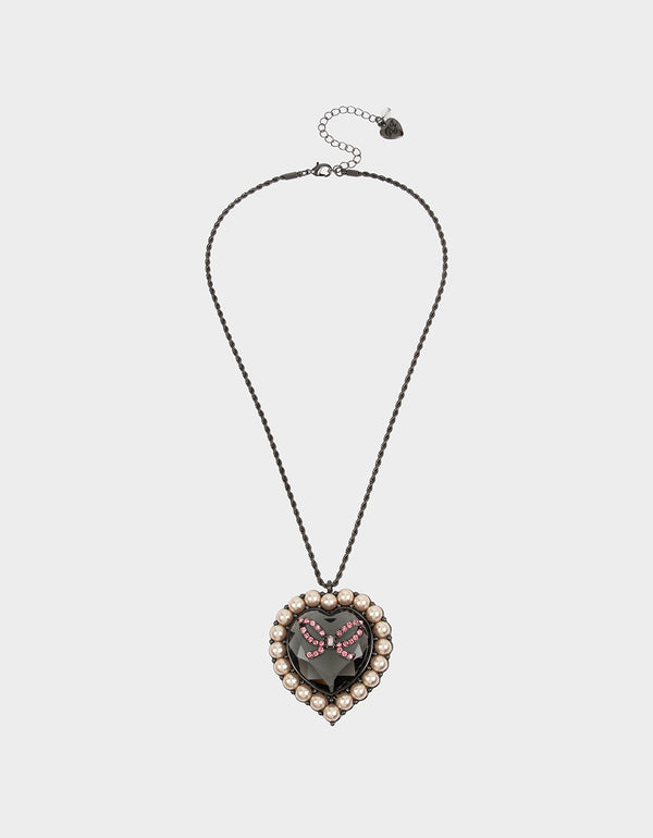 GET YOUR WINGS HEART LONG PENDANT BLACK-PINK - JEWELRY - Betsey Johnson
