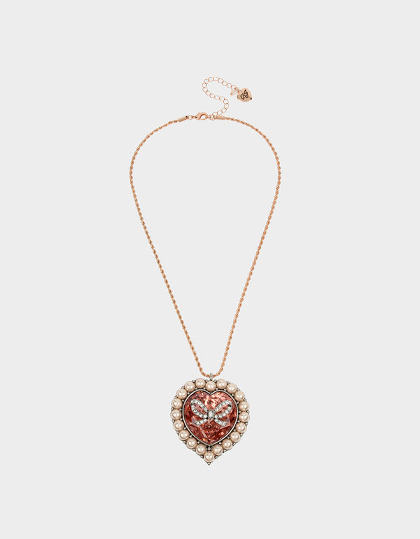 GET YOUR WINGS HEART LONG PENDANT BLUSH - JEWELRY - Betsey Johnson