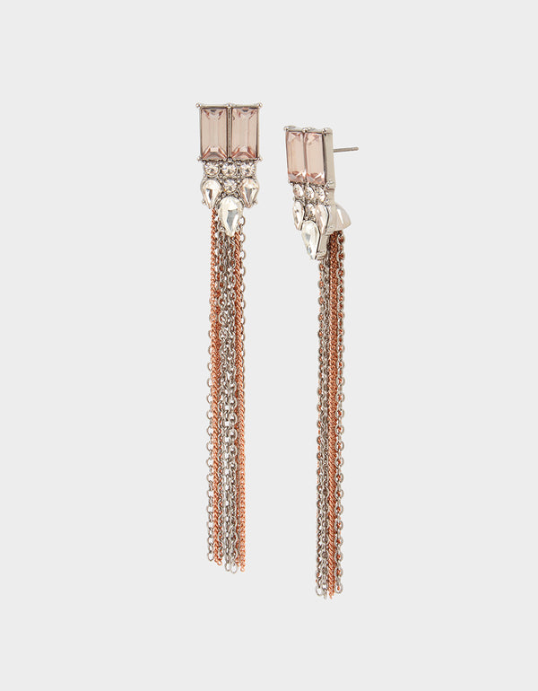 GET YOUR WINGS STONE FRINGE EARRINGS BLUSH - JEWELRY - Betsey Johnson