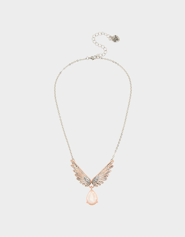 GET YOUR WINGS WING PENDANT BLUSH - JEWELRY - Betsey Johnson