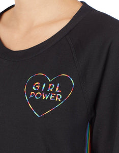 GIRL POWER BRUSHED TERRY TOP BLACK