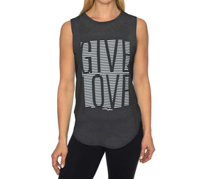 GIVE LOVE STRIPE HIGH LOW MUSCLE TEE BLACK