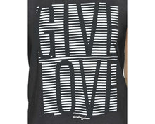 GIVE LOVE STRIPE HIGH LOW MUSCLE TEE BLACK - APPAREL - Betsey Johnson