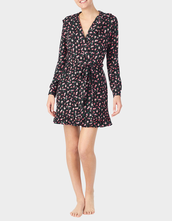 GLAMOROUS LIFE MARSHMALLOW ROBE FLORAL - APPAREL - Betsey Johnson