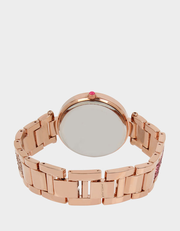 GLITTER FIRE LINK WATCH ROSE GOLD - JEWELRY - Betsey Johnson