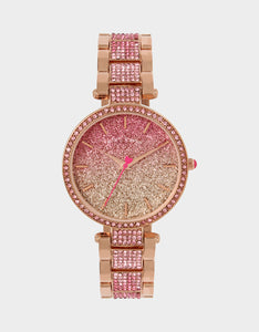 GLITTER FIRE LINK WATCH ROSE GOLD