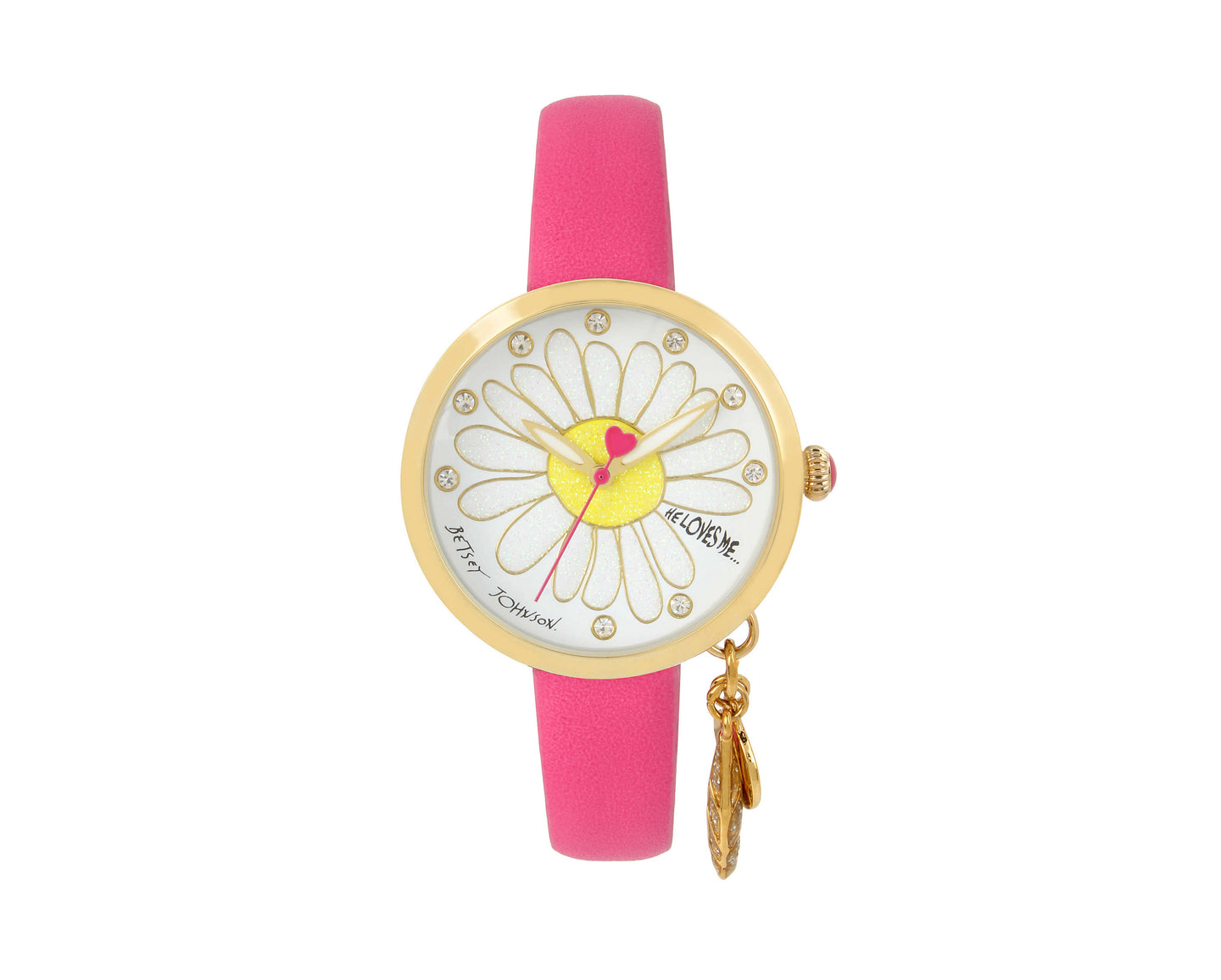 HE LOVES ME DANGLE PINK WATCH PINK - JEWELRY - Betsey Johnson