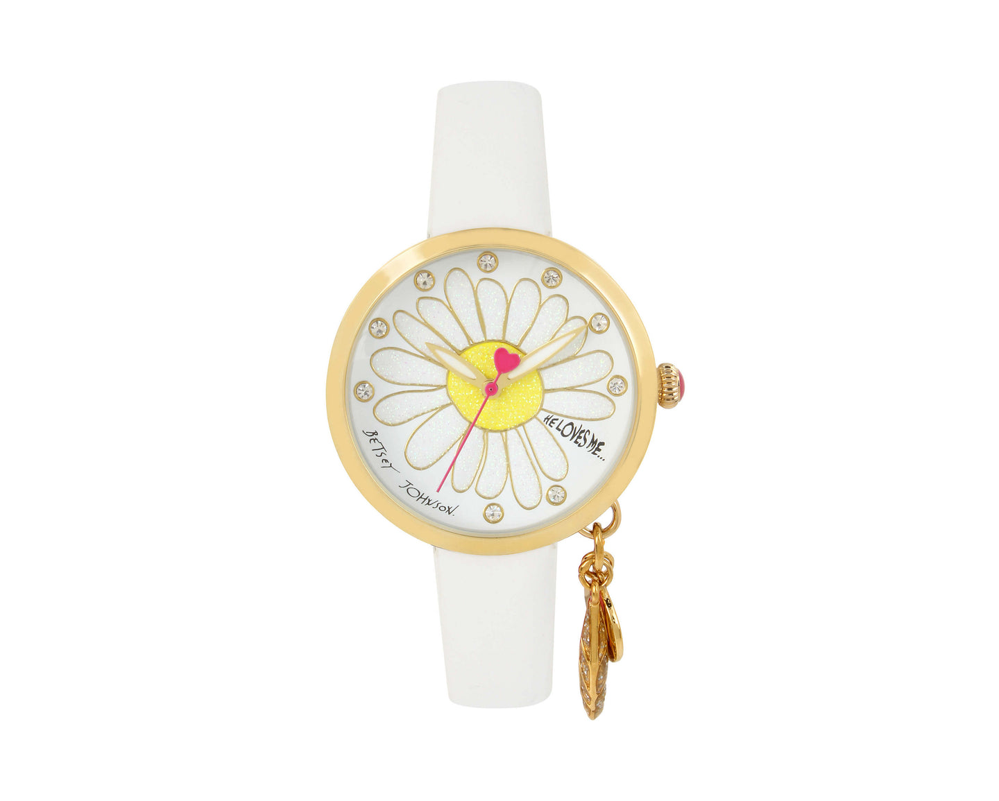 HE LOVES ME DANGLE WHITE WATCH WHITE - JEWELRY - Betsey Johnson