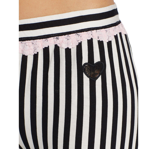 HEART AND SOUL RAYON KNIT PANT BLACK-WHITE - APPAREL - Betsey Johnson