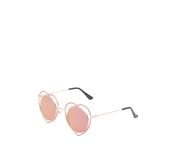 HEART RIMMED ROUND SUNGLASSES RED - ACCESSORIES - Betsey Johnson