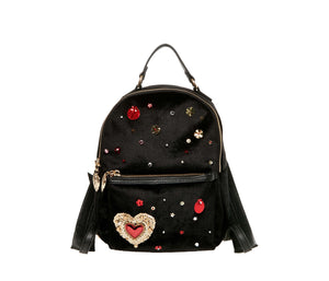 HEARTS AFIRE BACKPACK BLACK