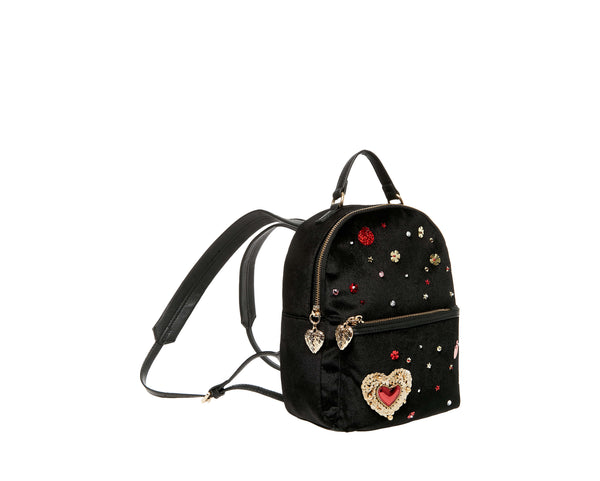 HEARTS AFIRE BACKPACK BLACK - HANDBAGS - Betsey Johnson