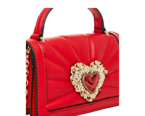 HEARTS AFIRE CROSSBODY RED