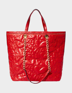 HEARTS AFIRE TOTE RED