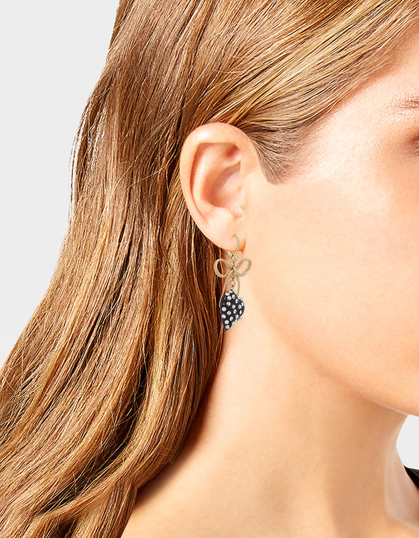 HEARTS ON FIRE BOW EARRING BLACK - JEWELRY - Betsey Johnson