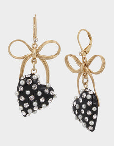 HEARTS ON FIRE BOW EARRING BLACK