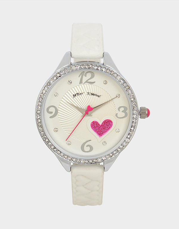 HEARTS ON HEARTS WATCH WHITE - JEWELRY - Betsey Johnson