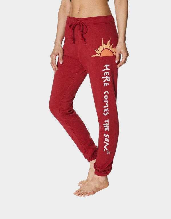 HERE COMES THE SUN SWEATPANT RED - APPAREL - Betsey Johnson