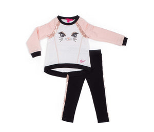 HERE KITTY KITTY TODDLER TWO PIECE SET BLACK-PINK