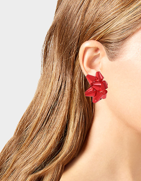 HI HO HOLIDAYS BOW CLIP EARRINGS RED - JEWELRY - Betsey Johnson