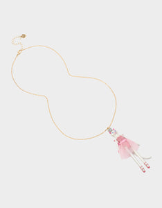 HI HO HOLIDAYS CAT BALLERINA NECKLACE LIGHT PINK