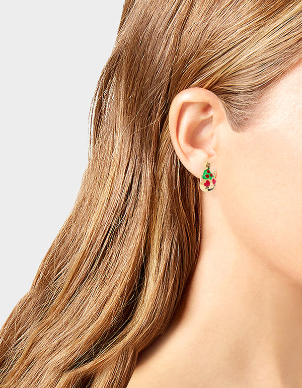 HI HO HOLIDAYS EMOJI CAT STUD EARRINGS GREEN - JEWELRY - Betsey Johnson