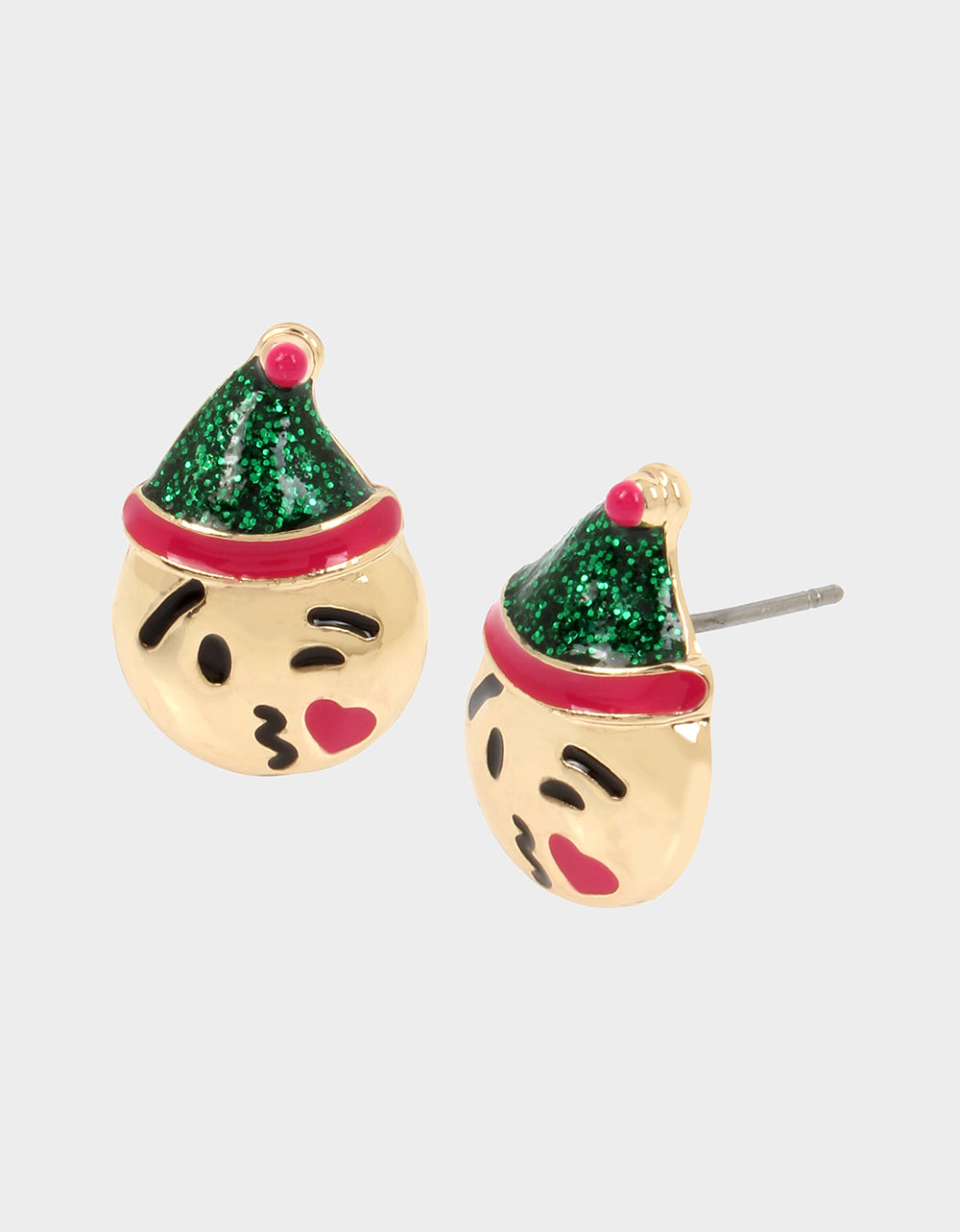 HI HO HOLIDAYS EMOJI ELF STUD EARRINGS GREEN - JEWELRY - Betsey Johnson