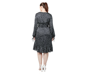 HIGH LOW CHERRIES DRESS BLACK-WHITE (EXTENDED SIZING)