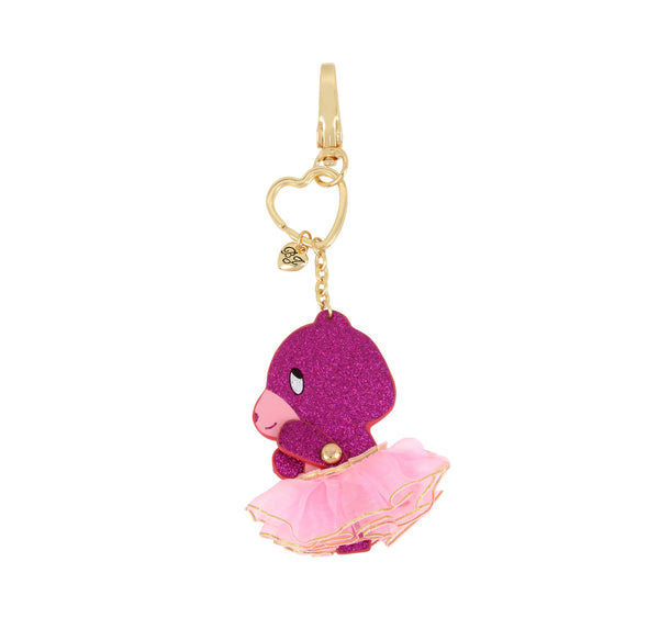 HOLIDAY 2018 MOVING PINK BEAR KEYCHAIN PINK - ACCESSORIES - Betsey Johnson