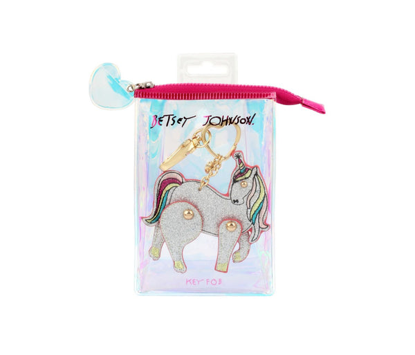 HOLIDAY 2018 MOVING SILVER UNICORN KEYCHAIN SILVER - ACCESSORIES - Betsey Johnson