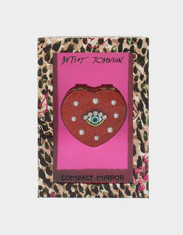 HOLIDAY 2019 HEART EYE COMPACT RED - ACCESSORIES - Betsey Johnson