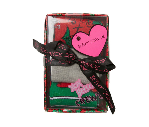 HOLLYBERRY CREW 3 PACK GIFT BOX MULTI - ACCESSORIES - Betsey Johnson