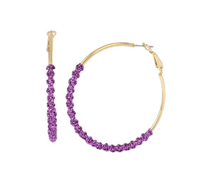 HOOP MAGIC PURPLE TWIST EARRINGS PURPLE
