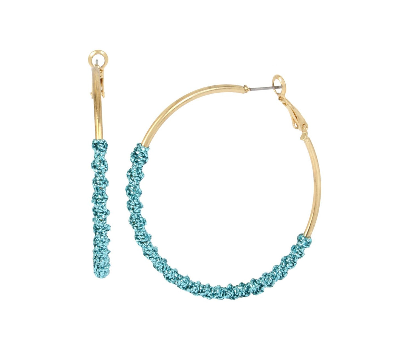 HOOP MAGIC TEAL TWIST EARRINGS TEAL - JEWELRY - Betsey Johnson